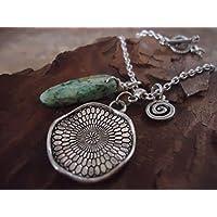 Collana a spirale e turchese con argento tibetano