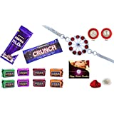 Rakhi Combo - Designer Rakhi (Silver Color / Plated Rakhi) With Choclate Combo (R1_J5_C10) | Rakhi Gifts For Brother...