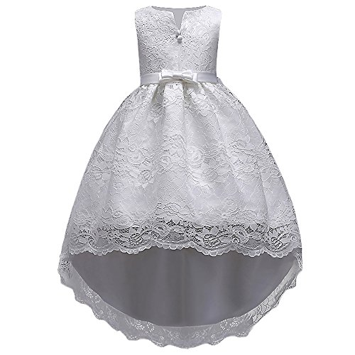 HUAANIUE Robe de Fête Élégance Réduction Fille Mariage Cérémonie Soirée Demoiselle d'Honneur Taille Princesse Robes à Queue D'Aronde, Blanc, 2-3 Ans(étiquette 110)