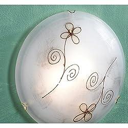 Jolly - Lámpara de araña, art. 5561/PLAF Plafón DM.30 decoración margarita con centros de cristal ámbar.