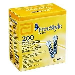 Freestyle Paquet de 200 lancettes stériles Diamètre 0,5mm/calibre 28g