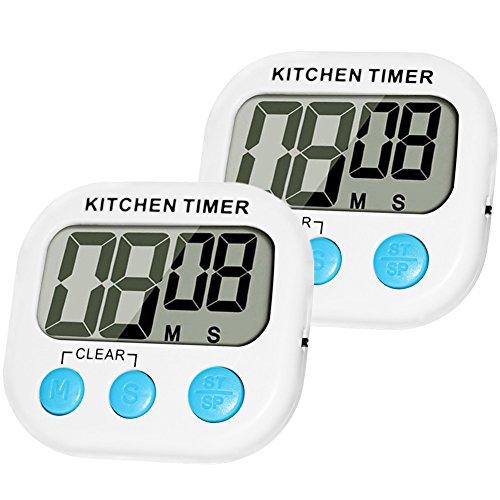 2 pack Elektronischer Timer MOMONY Digitalem Küchentimer Großer LCD-Bildschrim Digital Timer Magnetische Rückseite countdown timer Anhänger & Faltständer Küchenwecker Stopp-Uhr-Funktion Kurzzeitwecker