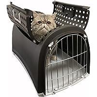 Cage/Panier / Box/Caisse de Transport, Marron pour Chat, Chien, Lapin ou NAC avec Porte Métallique Robuste à l'avant et Ouverture sur Le Dessus.