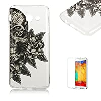 For Samsung Galaxy J5(2017 Model) Case [with Free Screen Protector], Funyye Fashion lovely Lightweight Ultra Slim Anti Scratch Transparent Soft Gel Silicone TPU Bumper Protective Colorful Pattern Design Cute Printing Rubbe Case Cover Shell for Samsung Galaxy J5(2017 Model) -Flowers Skull