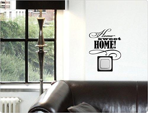 (dekodino Wandtattoo Lichtschalter Steckdose Spruch Home sweet Home Flur Wandaufkleber W)