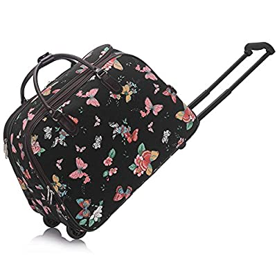 Ladies Butterfly Print Travel Bag Holdall Hand Luggage Womens Weekend Handbag Wheeled Trolley CWS00309C