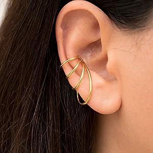 Gold Dreifachreifen Ohrstulpe aus 925 Sterling silber, ohr manschette für nicht durchbohrtes Ohr, griechischer…