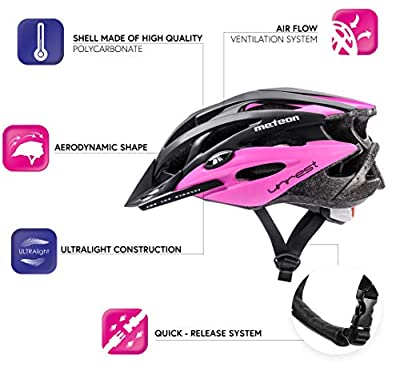 Meteor® Bike Bicycle Cycle Helmet MV29 Unrest: Mens & Youths Bike Cycling Helmet for Cycling, for Hover Board, InLine Skate, BMX Bike, Scooter. Developed for the safety of the tiniest User: The Helmet Circuit Certificate – 89/686/EEC and has a conti