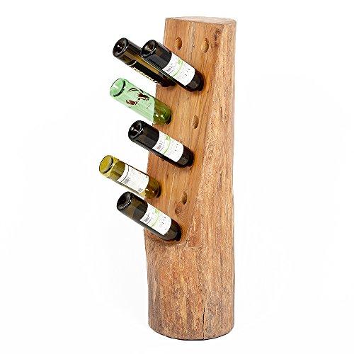 LEBENSwohnART Flaschenhalter Botella 100cm Teak Natural Massivholz Weinregal Baum Stamm Unikat