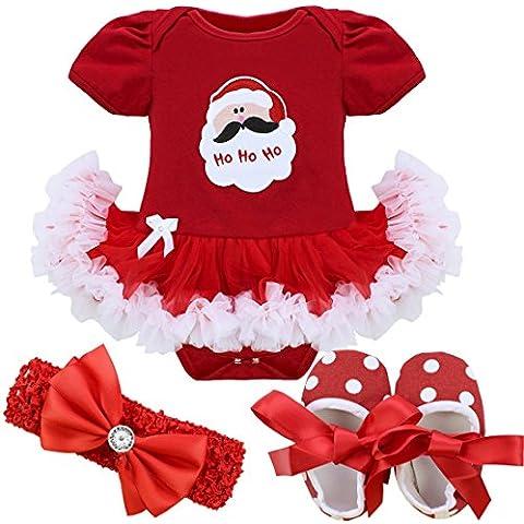 iEFiEL Vestidos de Princesa Navidad Fiesta Estilo de Pelele Conjunto Infantil Invierno para Bebé Niña Recién
