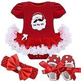 YiZYiF Neugeborenes Baby Mädchen Bekleidung Set Kurzarm Bodysuit Strampler mit Tütü Kleid Schuhe Stirnband für Weihnachten Geschenk #1 Weihnachtsmann 0-3 Monate