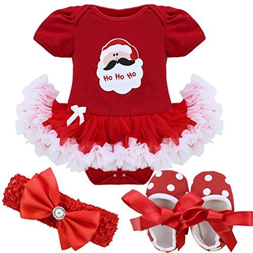 406003abab1a4 YiZYiF Bébé Fille Robe de Noël Robe Princesse Baptême Barboteuse Père Noël  Arbre Cerf Tutu Robe