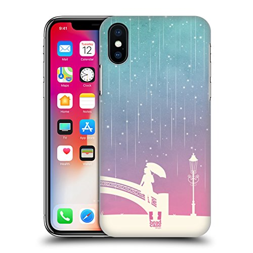 Head Case Designs Biker Pioggia Di Meteore Sfumata Cover Retro Rigida per Apple iPhone X Lady