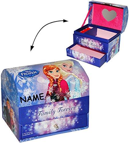 """Schmuckkasten - mit Schubladen + Spiegel - """" Disney die Eiskönigin - Frozen """" - incl. Name - Mädchen - z.B. für Schmuck - Schmuckbox Schmuckkästchen / Schmuckdose - Box / Kiste - völlig unverfroren Prinzessin Elsa Anna Arendelle - Olaf - Utensilo -Kinderzimmer - Schmuckschatulle"""