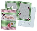 Unbekannt Einladungskarte zum Schulanfang - Blumen Schmetterlinge mit Umschlag - Karte Karten für Mädchen Schuleinführung Schulstart Blume Schmetterling rosa Punkte Einladung