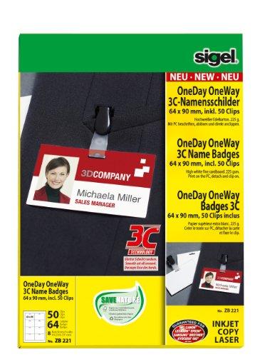 Sigel ZB221 Namensschilder PC beschriftbar, 64 Schilder, 50 Clips
