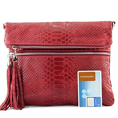 Italiano Borsa in pelle Clutch Borsa a tracolla borsa Clutch in pelle liscia serpente effetto T130 T130A Rot