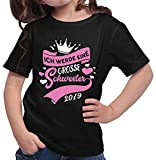 HARIZ  Mädchen T-Shirt Ich Werde Eine Große Schwester 2019 Große Schwester Geburtstag Bruder Weihnachten Plus Geschenkkarte Schwarz 140/9-11 Jahre