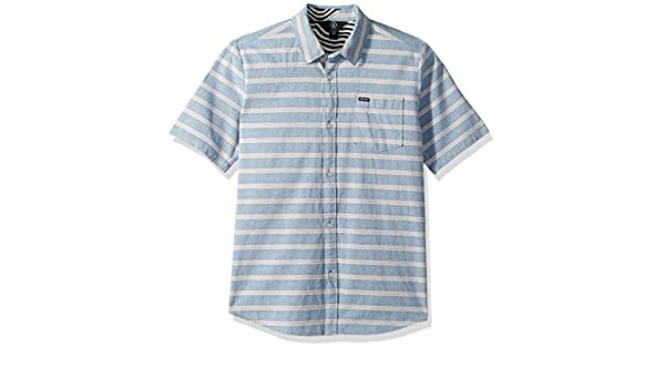 Volcom Boys Big Branson Woven Striped Short Sleeve Shirt