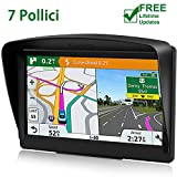 POMILE Navigatore Satellitare Auto, 7 pollici GPS per Auto Aggiornamento gratuito Mappa 8 GB ROM + 256 GB RAM Schermo capacitivo GPS ad alta luminosità per 52 paesi mappa