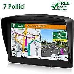 Idea Regalo - POMILE Navigatore Satellitare Auto, 7 pollici GPS per Auto Aggiornamento gratuito Mappa 8 GB ROM + 256 GB RAM Schermo capacitivo GPS ad alta luminosità per 52 paesi mappa