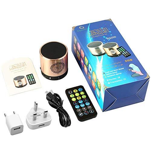 Siruiku Quran - Altoparlante audio con scheda di memoria Micro 8GB FM TF e telecomando, colore: Oro