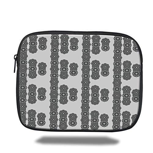 Black Mosaic Tile (Tablet Bag for Ipad air 2/3/4/mini 9.7 inch,Henna,Asian Eastern Culture Round Mandala Spiritual Symbols Moroccan Ornament Mosaic Tile Decorative,Black White)