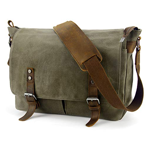 YANGYANJING Wasserdicht Vintage Canvas Leder Messenger Bag...