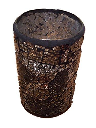 Decorative Glittery Sparkled Mosaic Flower Vase/ Candle Jar gift present (Brown)