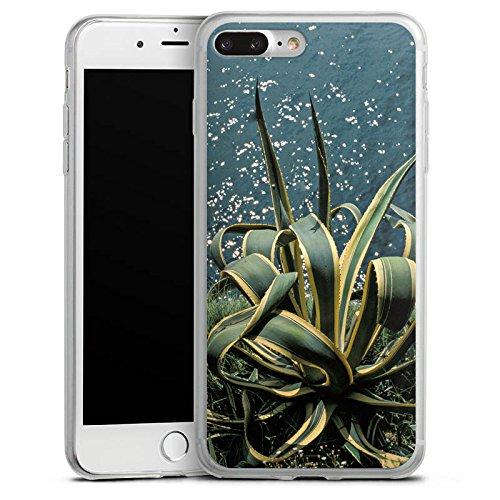 Apple iPhone 8 Plus Slim Case Silikon Hülle Schutzhülle Kaktus Ufer Blätter Silikon Slim Case transparent