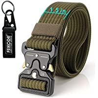 FEIKCOR Cinturón Táctico Cinturón Resistente para Hombres Cinturón Militar DE 1,5 '' Cinturones de Fijación Rápida Cinturón de Nylon con Hebilla de Metal (ArmyGreen-N022)
