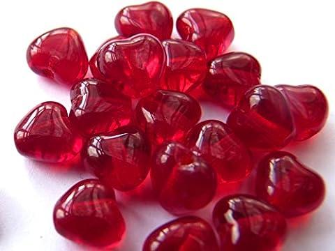 Lot de 40() x 6mm Perles Intercalaires en verre tchèque cœur–rouge rubis–C016
