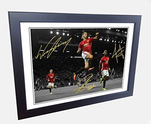 12x 8A4signiert Zlatan Ibrahimovic Paul Pogba Wayne Rooney Manchester United Autogrammkarte Foto Bild