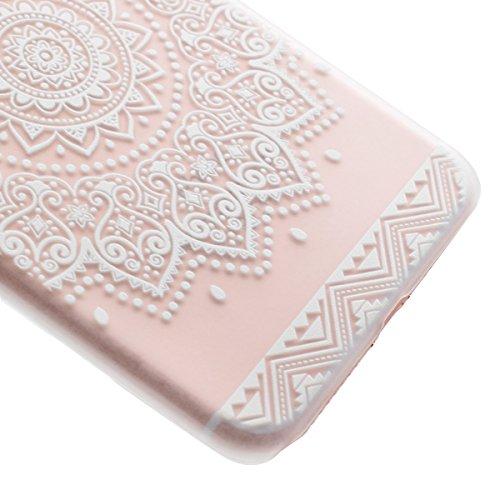 iphone 7 Plus 4.7 Zoll Hülle,iphone 7 Plus Transparent Crystal Case,Ekakashop Ultra dünn Slim Modisch Durchsichtig Weiß Traumfänger Muster Weiche Silikon TPU Flexible Gel Case Bumper Defender Protecti Blumenschale