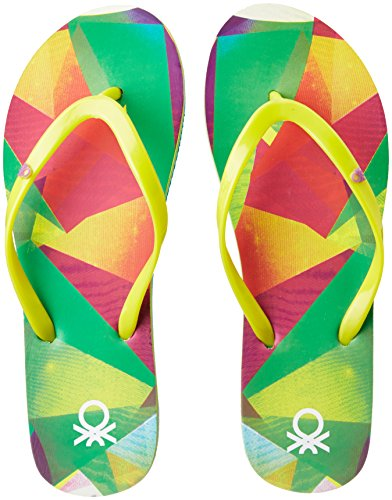6. United Colors of Benetton Women's Green Flip-Flops and House Slippers