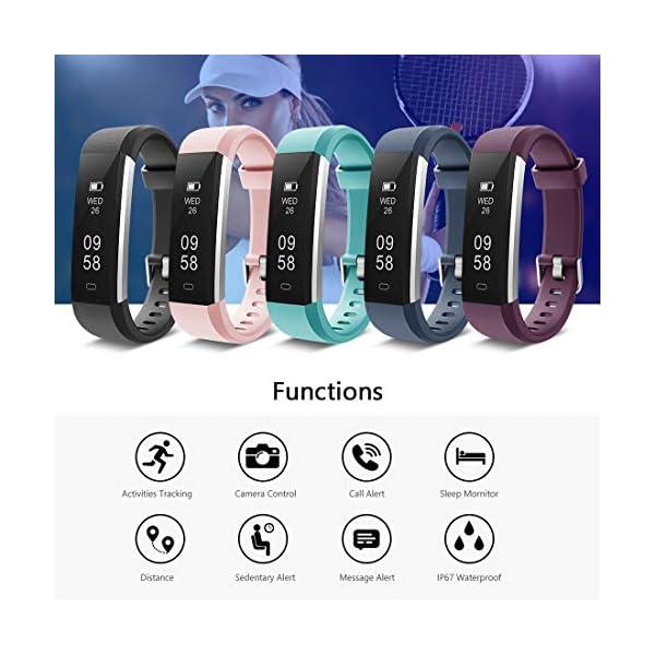 Yuanguo Pulsera de Actividad Inteligente Reloj Deportivo con Pulseras de Repuesto Podómetro Monitor de Sueño Pulsera… 2