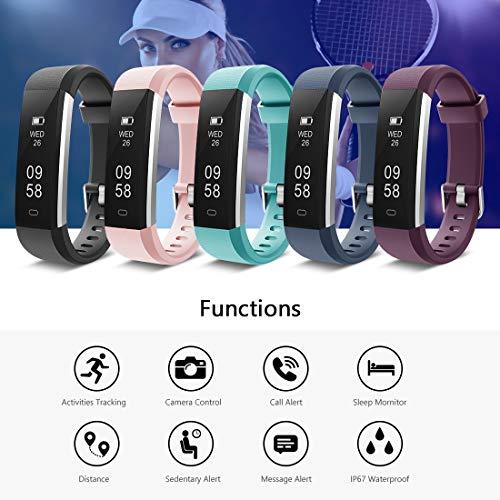 Imagen de yuanguo pulsera de actividad inteligente reloj deportivo con pulseras de repuesto podómetro monitor de sueño pulsera cuenta pasos y calorias pulsera deporte impermeable para mujer hombr niño alternativa