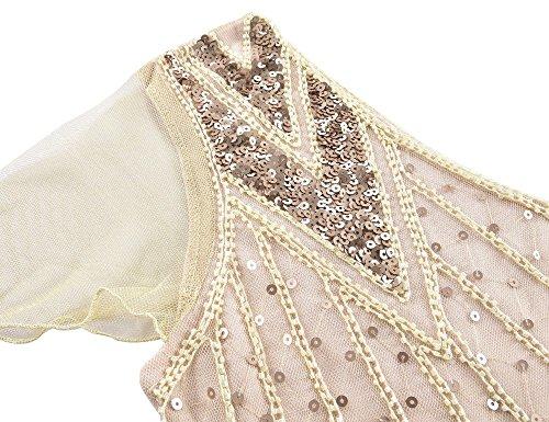Kayamiya Damen 1920er Jahre Lange Abschlussball Kleid Perlen Pailletten Art Deco Formell Abendkleid Mit Hülse Champagner Rosa