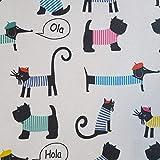 Staab's Beschichtete Baumwolle Hund & Katze (Meterware, Qualität Zum Nähen) (100 x 140 cm)