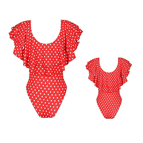 ORANDESIGNE Mujeres Bebé Niñas Bañadores de Leopardo Volantes Bañador de Natación Bikini Trajes...
