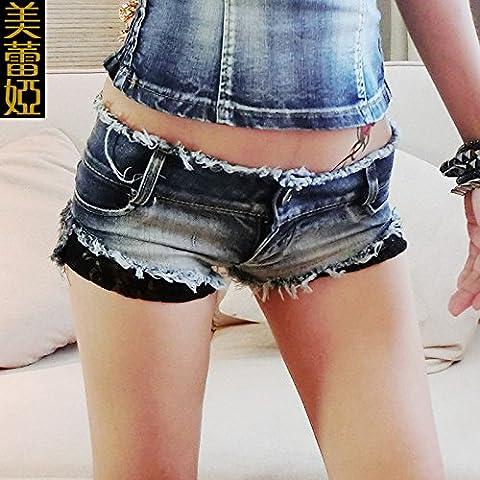 CU@EY Solide de femmes plus faible hauteur Club Slim hanche denim shorts pantalon, light blue,S