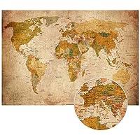 PMP 4life. Old Carte du Monde en Look Vintage - Peinture Murale XXL Affiches HD 140cm x 100 cm décoration Murale rétro. Image mappemonde utilisé comme Mur | Carte écran Murale Antique |