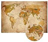 2er Set Alte Weltkarte im Vintage look XXL Poster HD Wandbild 140cm x 100 cm Retro Wand-deko worldmap Bild als Pinnwand verwendbar | Fotoposter Landkarte antikes Wandbild Atlas |