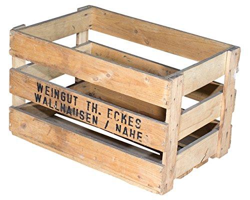 """2er Set Alte Weinkiste """"Weingut Th. Eckes"""" - gebrauchte Holzkiste Obstkiste Apfelkiste für Dekoration50x35,5x27,5cm"""