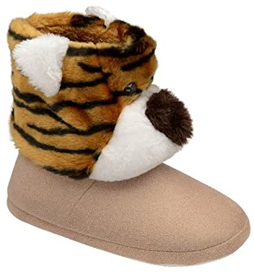 NEW DUNLOP WOMENS GIRLS BOYS NOVELTY PLUSH SLIPPERS BOOTS TIGER FACE BOOTIES CHILDRENS LADIES SIZE 7-8
