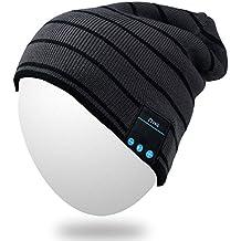 Bluetooth Beanie, Qshell Música Sombrero con inalámbrico Bluetooth para auriculares manos libres auricular del altavoz estéreo de micrófono manos libres, el mejor regalo de Navidad de cumpleaños para mujer para hombre del invierno al aire libre Esquí Snowboard - Gris