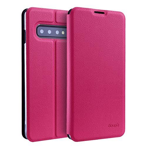 doupi Flip Case für Samsung Galaxy S10 Plus, Deluxe Schutz Hülle mit Magnetischem Verschluss Cover Klappbar Book Style Handyhülle Aufstellbar Ständer, rot pink Flip Leder Hard Case