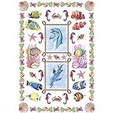 Diam's Déco Pack de 12 Papiers transfert 15 x 21 cm motif Fonds marins Couleurs Assorties