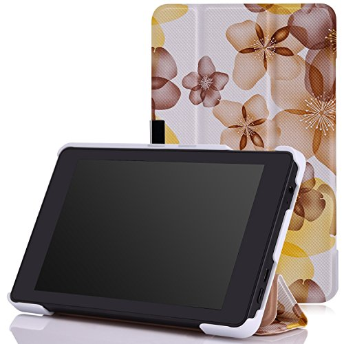 MoKo Fire HD 6 2014 Hülle - Ultra Lightweight Slim PU Leder Tasche Schutzhülle Schale Smart Shell Case mit Standfunktion für Amazon Kindle Fire HD 6 Zoll (4. Generation - 2014 Modell), Blumen-Gelb (Zubehör Hd Kindle Fire 2014 6)