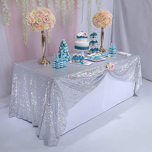 TRLYC schimmernder Paillettenstoff Tischdecke, 125 x 180cm für Hochzeiten, erhältlich in vielen Farben,Silber, 50